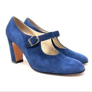 FERRAGAMO blue suede Mary Jane shoes